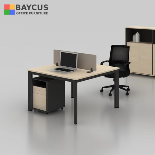 Open Concept Workstation  Open Plan Workspace Desk for 2 Person Col Maple  Dark Grey