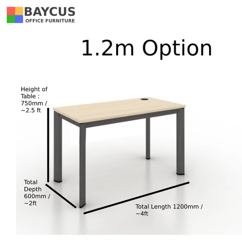 B-One 1.2m/1.4m Single Workstation Col: Maple / Dark Grey Frame
