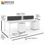 B1-241260 4 Pax Open Concept Workstation Col: White
