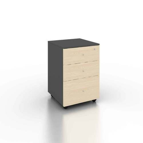 B-One 3 Drawers Mobile Pedestal Maple  Dk Grey