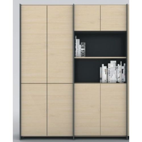 B-One Twin High Cabinet Swing Door Maple  Dark Grey