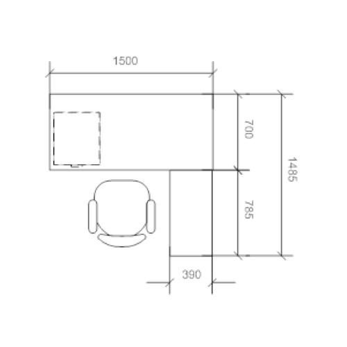 1.5m L-Shaped Table Set Walnut