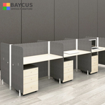 Abby 1.2m 6 Pax Office Cubicles with Mobile Pedestal Col Maple  Dark Grey