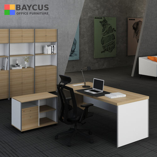 B-One 1.8m Director Table Set with Standalone Cabinet - Teak White