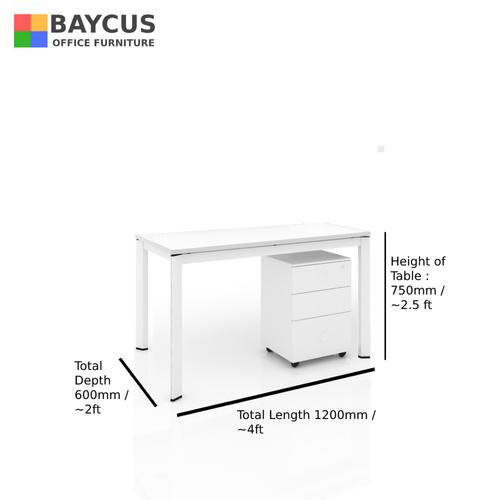 B-One 1.2m Single Open Workstation Col: White / White Frame
