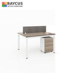 B-One 121275-WT 2 Pax (1.2m) Open Concept Workstation with Desktop Panel Col: Teak