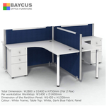 BA T-Shaped Blue Fabric Partition for 2 Person