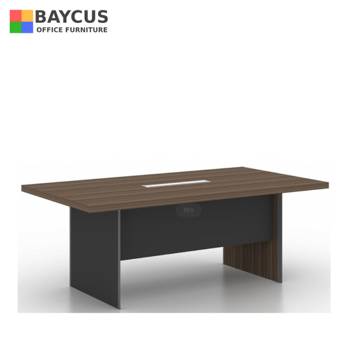 B-One 2.4m Conference Table with Wooden Leg and Wire Management Oak Brown