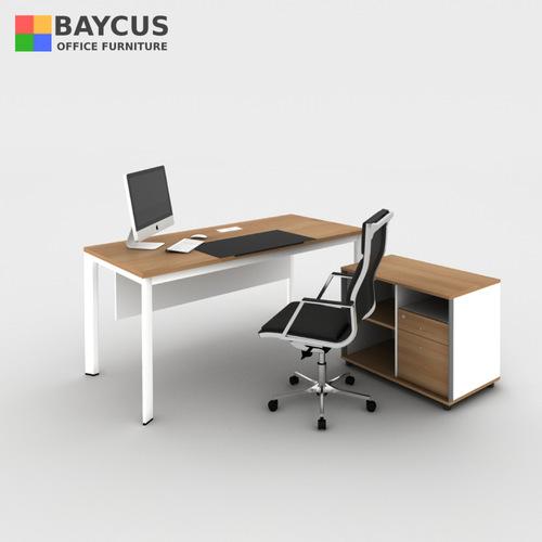 B-One 1.5m Executive Table Set Col: Teak /White