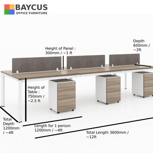 B-One 361260-TW 6 Pax (1.2m) Open Concept Workstation (Teak / White)