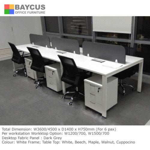 BS 1.5m x 0.7m Open Concept Workstation for 6 Pax