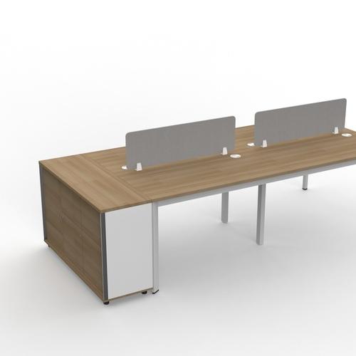 B-One Desk Height 3 Door Swing Door Cabinet With Lock Col: Teak White