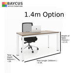B-One 1.4m Single Open Workstation Col Teak White Frame with Dimensions