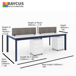 B-One 1.2m 4 Pax Open Concept Workstation (White / Navy Blue)