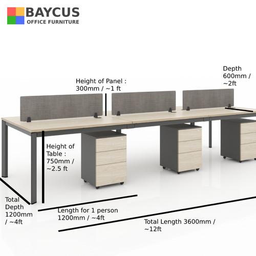 B-One 361275-WT6 Pax (1.2m) Open Concept Workstation (Maple / Dark Grey)