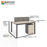 B-One 121275-WT 2 Pax 1.2m Open Concept Workstation Col Maple  Dark Grey