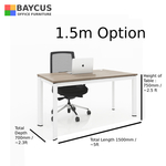 B-One 1.5m Single Open Workstation Col Teak White Frame with Dimensions