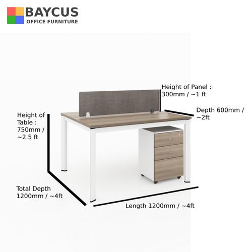 B-One 121275-WT 2 Pax 1.2m Open Concept Workstation with Desktop Panel Col Teak