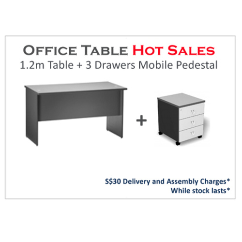 1.2m Writing Table with Mobile Pedestal with 3 Drawers