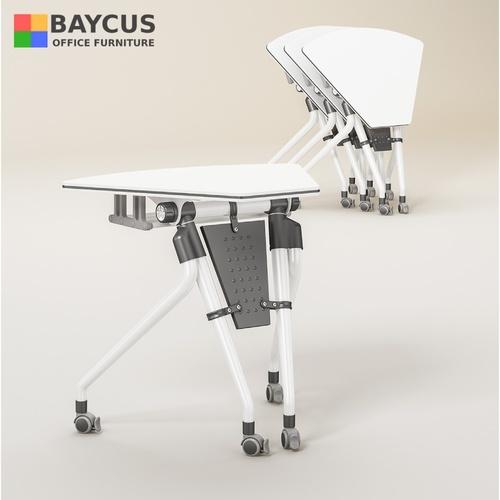 FT-19-D15-75-55 Foldable Trapezium Table with Lockable Castors