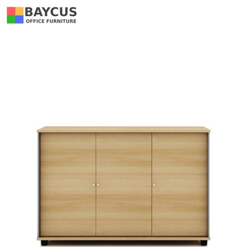 B-One Desk Height 3 Door Swing Door Cabinet With Lock Col Teak White