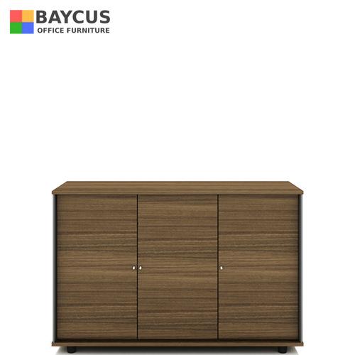 B-One Desk Height 3 Door Swing Door Cabinet With Lock Col Oak Brown