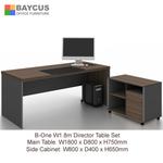 B-One 1.8m Director Table Set (Wooden Leg) - Dark Brown
