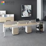 B-One 1.2m 6 Pax Open Concept Workstation Teak  White