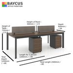 B-One 1.2m 4 Pax Open Concept Workstation (Dark Brown)