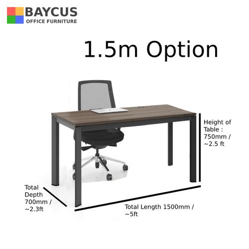B-One 1.2m/1.4m/1.5m Single Open Workstation Col: Oak Brown / Dark Grey Frame