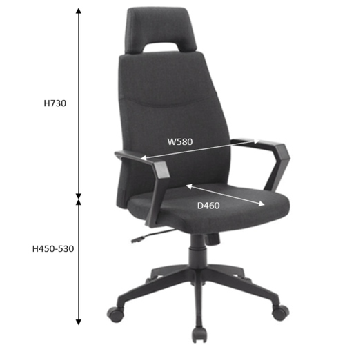 TOURMA High Back Chair Black Fabric