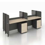 B-One Series 1.2m Office Cubicles for 4 Pax Teak Table