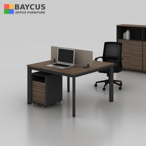 Baycus Singapore 2 Pax Open Concept Workstation with Desktop Panel Colour Oak Brown
