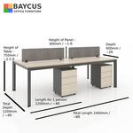 B-One 2412075-WT 4 Pax (1.2m) Open Concept Workstation (Maple / Dark Grey Frame)