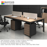 B-One 1.2m Open Concept Workstation Brown with Mobile Pedestal