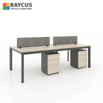 B-One 2412075-WT 4 Pax 1.2m Open Concept Workstation Maple  Dark Grey Frame