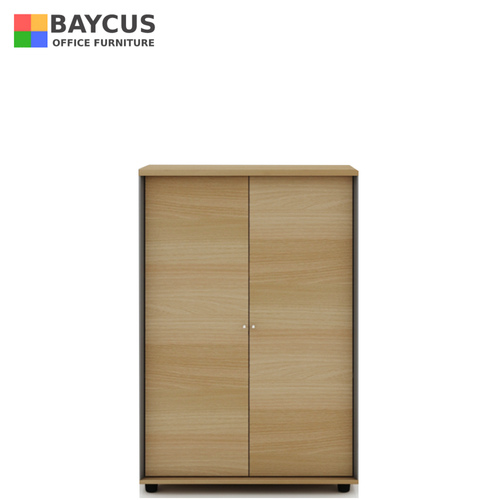 B-One Mid Height Full Swing Door Cabinet with Lock Col Teak White