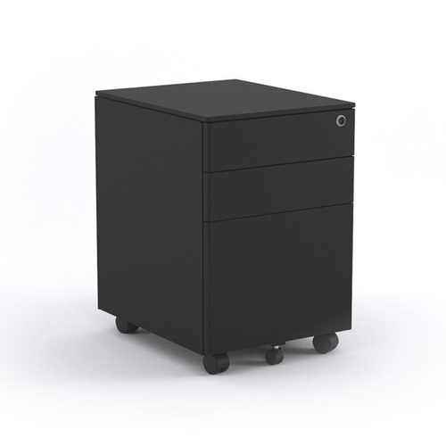 Black Metal Mobile Pedestal with 2D1F
