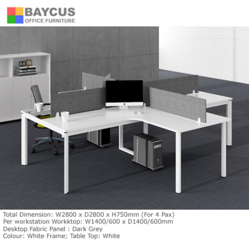 B-One 1.4m L-Shaped Open Concept Workstation White for 4 Person