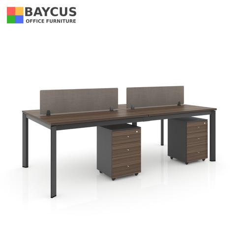 B-One 1.2m 4 Pax Open Concept Workstation Dark Brown