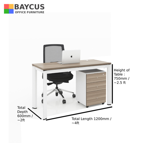 B-One 1.2m Single Open Workstation Col Teak  White Frame with dimensions