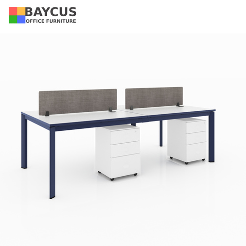 B-One 1.2m 4 Pax Open Concept Workstation White  Navy Blue
