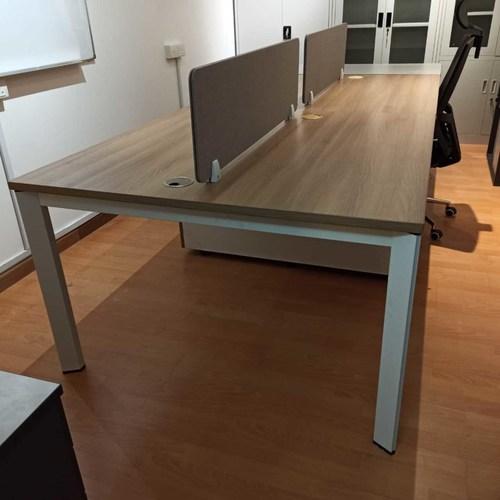 B-One 1.2m Open Concept Workstation Teak with Mobile Pedestal