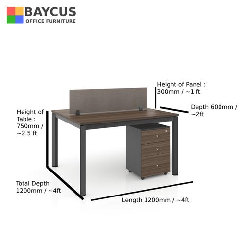 B-One 121275-WT 2 Pax 1.2m Open Concept Workstation with Desktop Panel Col Oak Brown