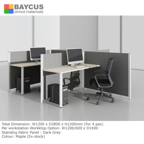 BA 1.2m Double T-Shaped Workstation for 4 Person