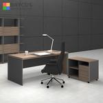 B-One 1.8m Director Table Set Wooden Leg - Dark Brown
