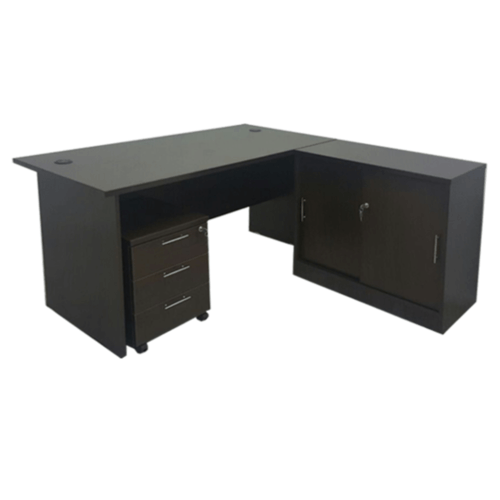 1.5m L-Shaped Table Set with Storage Cabinet