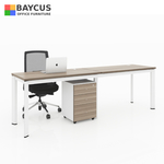 B-One 240675-WT Adjacent Workstation (1.2m x 0.6m per person) with Wire Management Box Col: Teak / White