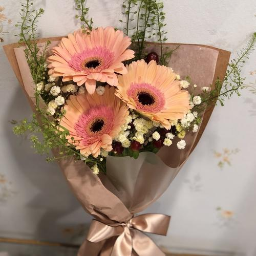 Trio Gerberas with seasonal blooms