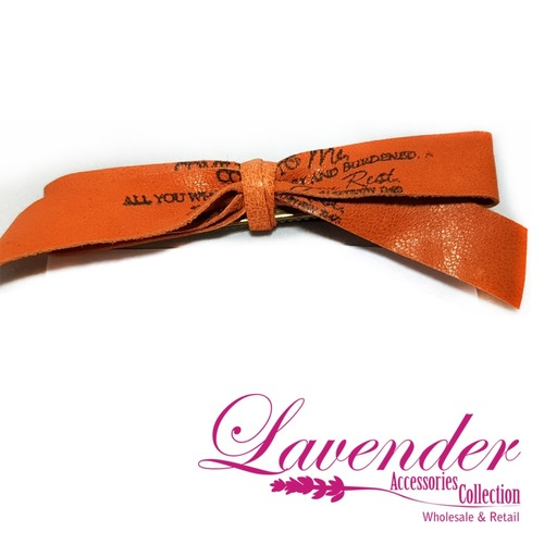 Orange Ribbon Hair Clip
